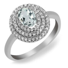 1.72 Ct Oval Sky Blue Aquamarine 925 Sterling Silver Ring