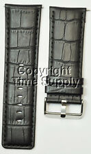 30 mm BLACK LEATHER WATCH BAND CROCO WITH SPRING BAR