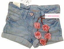 •••ВNWT NEXT Girls' Outfits • Denim Shorts with Headband • Cotton-Rich • 3 Years