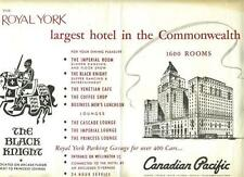 The Royal York Hotel Placemat Toronto Ontario Canada Canadian Pacific Hotel