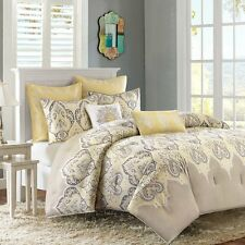 NEW Twin XL Full Queen Cal King Bed Yellow Grey Gray Paisley 7 pc Comforter Set