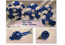 WEDDING FLOWERS WEDDING BOUQUET BRIDES BOUQUET ROYAL BLUE POSIES WANDS CORSAGES