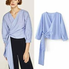 Womens Striped Wrap Tie-Waist Bowknot Long Sleeve Blouse Tops Shirt Chic