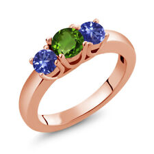 1.10 Ct Round Green Chrome Diopside Blue Tanzanite 14K Rose Gold Ring