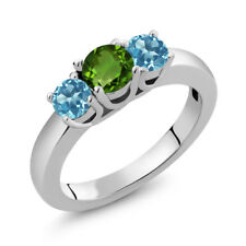 1.16 Ct Round Green Chrome Diopside Swiss Blue Topaz 925 Sterling Silver Ring