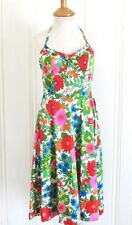 Vtg 1960s Bright Romantic Pinup Bombshell Halter Floral Garden Party Dress S