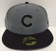 Official New Era 59Fifty MLB Cap Chicago Cubs Gray Black Fitted Hat Sold Out