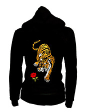 Junior Size Thin Zip Up Hoodie Roses & Tiger Patched Sweater S M L 1XL 2XL 3XL