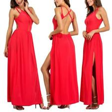 Sexy Women's Sleeveless Backless Evening Party Split Cocktail Long Maxi Dress