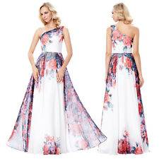 One Shoulder Chiffon Evening Gown Prom Party Bridemaid Floral Long Maxi Dress .