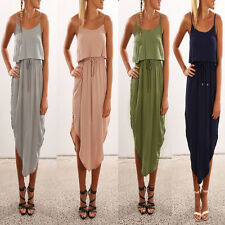Girls Women Sleeveless Long Maxi Beach Dress Sexy Backless Evening Party Dress