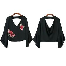 Ruffle Summer Fashion V Neck Casual Embroidery Blouse Blouse Chiffon Short