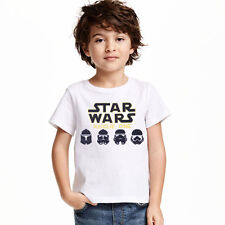 Kids Boys Girls Star Wars Letters Cotton Summer Tops T Shirts Casual T-shirt Tee