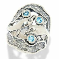 925 Sterling Silver Ring Nature Blue Topaz CZ Blue Women Ring