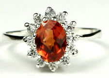 CLEMSON FANS! •SR235, Created Padparadsha Sapphire, Sterling Silver Ladies Ring