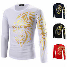 Tattoo Dragon Print T Shirt Men Long Sleeve Clothing Casual Slim O-neck Tee MDAU