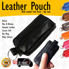 New Coin Purse Key Case SMALL Real Soft Leather Pouch for Men & Ladies | 2 Zips