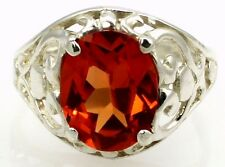 CLEMSON FANS! •SR004, 10X8mm Created Padparadsha Sapphire, Sterling Silver Ring