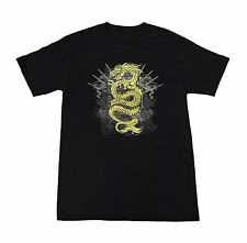 NEW Dragon with Sword Throne Men's Black w/ Gold yellow T shirt Small-XLarge ACC