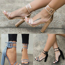 Sexy Women Block Heels Ankle Strappy Sandals Peep Toe Party Transparent Shoes Sz