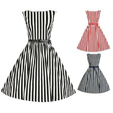 Women's Retro Tunic Dress 50s 60s Stripes Swing Pinup Rockabilly Housewife Dress