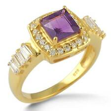 Solid 925 Sterling Silver Unique Ring Amethyst Gold Filled Size O xY97177