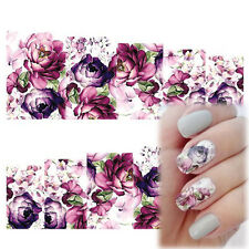 2 Sheet Nail Art Water Decals Stickers Transfers Purple Flowers Gel Polish Decor
