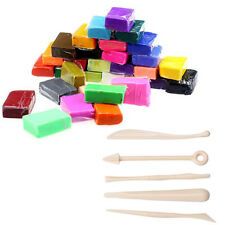 5 Tools+32 Colors Polymer Clay Fimo Block Modelling Moulding Sculpey DIY Toy LOT