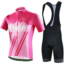Pink Men Bike Shorts Bicycle Short Sleeve Cycling Clothing Jersey Bib Shorts Set