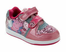 GIRLS OFFICIAL PEPPA PIG PINK GLITTER TOUCH FASTENING TRAINERS SHOES SIZE 4-10