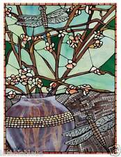 GODBOUT ORIGINAL Fine Art Print Dragonfly Aqua Stained Glass Look DRAGONFLY ART