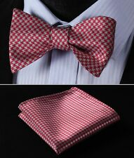 BG102R Red Gray Houndstooth Men Woven Silk Self Bow Tie Pocket Square Set