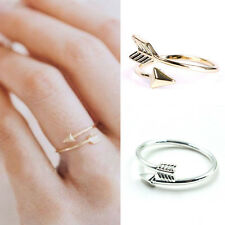 Superb Women Girl Rings Gold Silver Adjustable Arrow Open Knuckle Ring JX