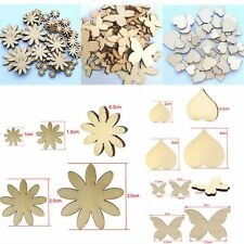 50Pcs Sizes Craft Fitted Scrapbooking Flower Butterfly Heart Buttons Wood