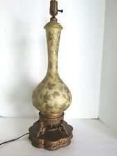 Vtg Glass Gold Painted Gilded Brass Cherub Base Hollywood Tall Lamp Butterflies