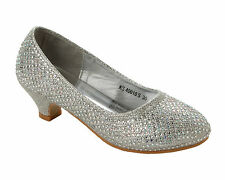 GIRLS SILVER GLITTER DIAMANTE BRIDESMAID PARTY WEDDING LOW HEEL SHOES SIZE 10-2