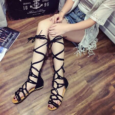 Summer Sandals Womens Knee High Cut Out Lace Up Sandal Ladies Flat Suede Shoes