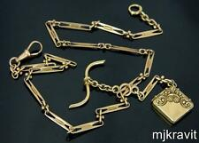 """14K Ornate Watch Chain w/Picture Locket Two Part Fob 18.25"""" Victorian Necklace"""