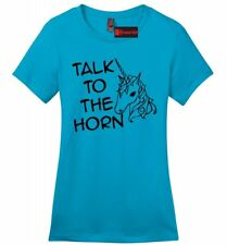 Talk To The Horn Funny Unicorn Ladies Soft T Shirt Cute Holiday Gift Tee Z4