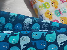 Timeless Treasures Fabric SPLASH whale fish anchor blue yellow pink purple green