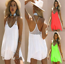 Womens Summer Vest Strappy Sundress Ladies Casual Beach Party Skater Mini Dress