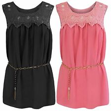 NEW LADIES CROCHET TOP CHIFFON SLEEVELESS BLOUSE WOMEN LACE CHAIN BELT LOOK TOPS