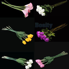 6pcs Simulation Flowers Tulip Artificial Silk Rose Calla Home Wedding Decor