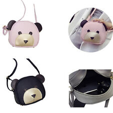 1Pcs Girl's Messenger bag Handbags PU Leather Shoulder Bag Cute bear face Women