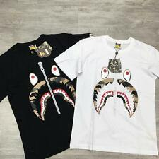 Men's Bape Shark Jaw Fake zipper Pattern A Bathing Ape Round Neck Ape Tee Shirt