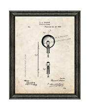 Thomas Edison Light Bulb Patent Print Old Look in a Standard Black Wood Frame