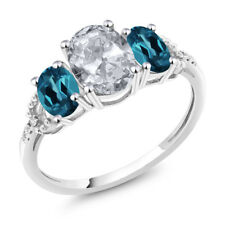 Diamond Accent 10k White Gold 2.35Ct Oval White Topaz London Blue Topaz Ring
