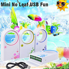Portable Mini Bladeless Fan No Leaf USB Desktop Air Conditioner LAPTOP Cooler