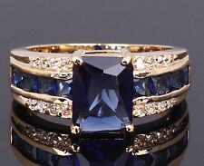 Men Women Size 7, 8,9,10,11 Engagement Blue Sapphire 10KT Gold Filled Ring Gift