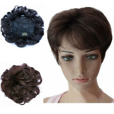 Lady Natural Black/Brown Wavy Top Piece Toupee 100% Human Hair Hair Extension